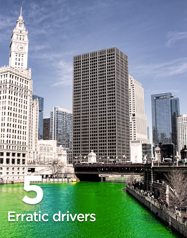 Erratic Drivers - image of downtown Chicago and the river dyed green for St. Patrick's Day.